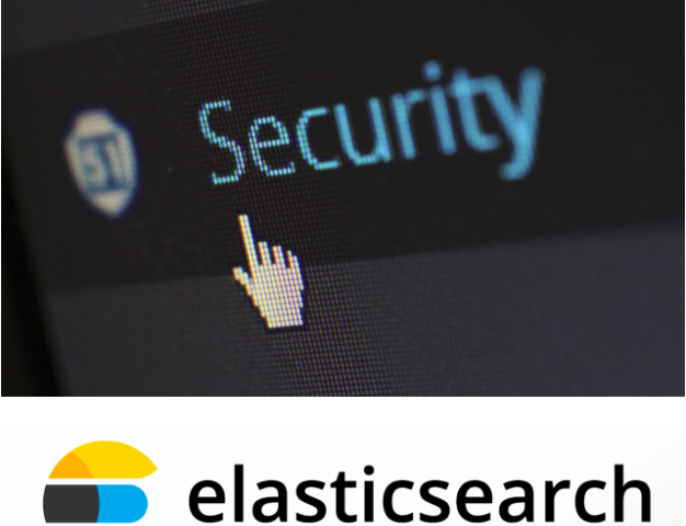 an image representing security and an Elasticsearch logo to represent security against Elasticsearch data leaks.